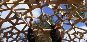 building a wooden geodesic  house