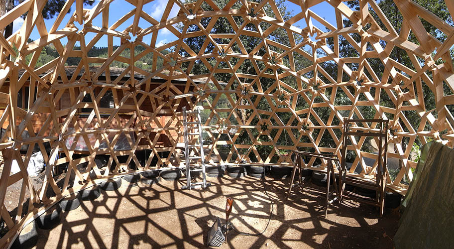 wooden geodesic structure