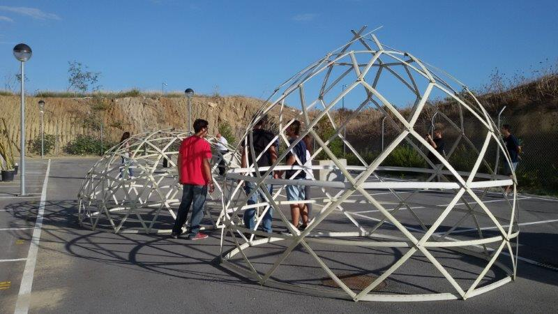 geodesic structure recycled materials