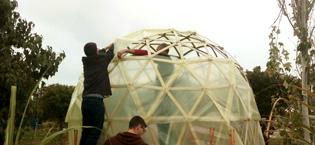 Invernadero geodesico de persianas